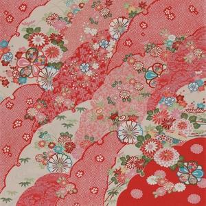 【箱入り】■日本製高級風呂敷■はいからもだん友仙ふろしき[二巾]■雪輪重ねに菊花文様(赤)■
