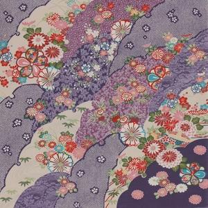 【箱入り】■日本製高級風呂敷■はいからもだん友仙ふろしき[二巾]■雪輪重ねに菊花文様(紫)■