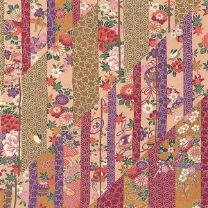 【箱入り】■日本製高級風呂敷■はいからもだん友仙ふろしき[二巾]■斜め寄せ裂(金茶と紫)■