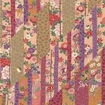 <br />日本製高級風呂敷■はいからもだん友仙ふろしき[二巾]■斜め寄せ裂(金茶と紫)■