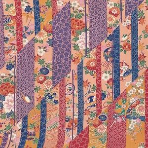 【箱入り】■日本製高級風呂敷■はいからもだん友仙ふろしき[二巾]■斜め寄せ裂(紫と青)■