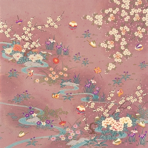【箱入り】■日本製高級風呂敷■はいからもだん友仙ふろしき[二巾]■流水花音(ピンク)■