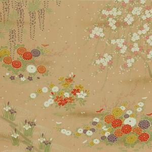 【箱入り】■日本製高級風呂敷■はいからもだん友仙ふろしき[二巾]■霞花模様(ベージュ)■