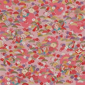 【箱入り】■日本製高級風呂敷■はいからもだん友仙ふろしき[二巾]■雪輪に鞠と花尽くし(ピンク)■