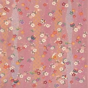 【箱入り】■日本製高級風呂敷■はいからもだん友仙ふろしき[二巾]■立涌小紋に花玩具(ピンク)■