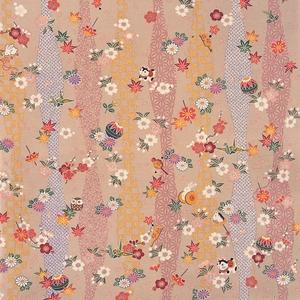 【箱入り】■日本製高級風呂敷■はいからもだん友仙ふろしき[二巾]■立涌小紋に花玩具(金茶)■