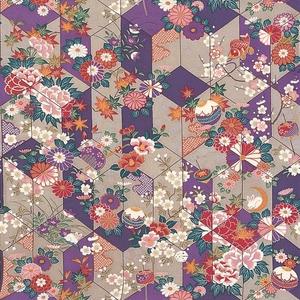 【箱入り】■日本製高級風呂敷■はいからもだん友仙ふろしき[二巾]■矢絣散花(紫)■