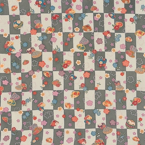 【箱入り】■日本製高級風呂敷■はいからもだん友仙ふろしき[二巾]■貝合わせに桜散らし(グレー)■