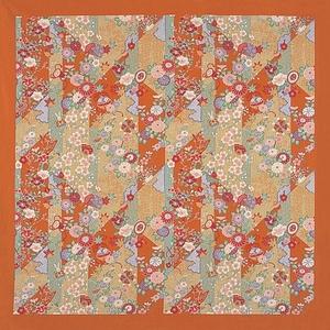 【箱入り】■日本製高級風呂敷■はいからもだん綿大ふろしき■斜め裂花尽くし(オレンジ)■
