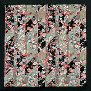 【箱入り】■日本製高級風呂敷■はいからもだん綿大ふろしき■斜め裂花尽くし(黒)■