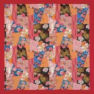 【箱入り】■日本製高級風呂敷■はいからもだん綿大ふろしき■寄裂古布(赤)■