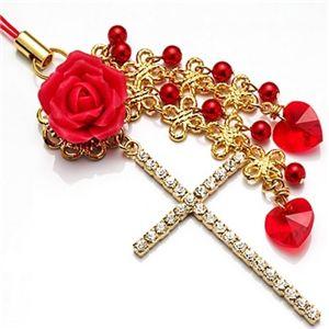 「デザイナーズジュエリー」ストラップ  一輪の赤い薔薇(クロスストラップ)