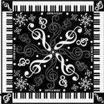 音符と鍵盤モチーフの可愛いスカーフ ト音記号黒
