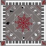 音符と鍵盤モチーフの可愛いスカーフ グレー