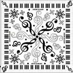 音符と鍵盤モチーフの可愛いスカーフ ト音記号白