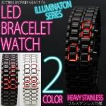 LEDブレスレット腕時計(ウォッチ) シルバーステンレス (メンズサイズ)
