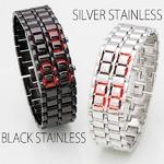 LEDブレスレット腕時計(ウォッチ) シルバーステンレス (ボーイズ/レディースサイズ)