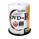 ALL-WAY DVD-R16倍速100枚スピンドル ALDR47-16X100PW-3P 【3個セット】の詳細ページへ