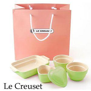 Le Creuset(ル・クルーゼ) ストーンウェア ギフトバッグ入り 4点セット ライム