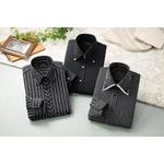 ドレスシャツ3枚組(ブラック系) LLサイズ