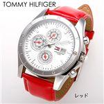 TOMMY HILFIGER(トミー・ヒルフィガー) マルチファンクション レザーウォッチ 1780647/レッド