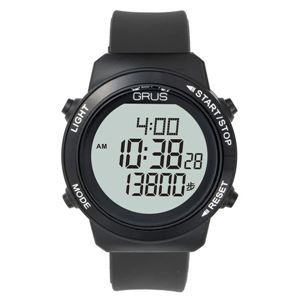 GRUS(グルス) 腕時計 認知症予防 歩幅計測 ウォーキングウォッチ ブラック GRS001-02