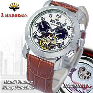 J.HARRISON(ジョン・ハリソン) ハンドワインディング メンズレザーウォッチ JH-002WB/ホワイト×ブラック