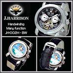 J.HARRISON(ジョン・ハリソン) ハンドワインディング メンズレザーウォッチ JH-002BW/ブラック×ホワイト