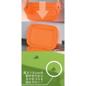 たたんでコンパクト収納!やさしいシリコン製「脚付きシリコン洗い桶」 オレンジ