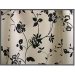 バラ柄遮光カーテン 幅150cm×丈200cm 2枚組 ブラック