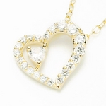 Beji(ベジ) heart to heart/ネックレス/Light Yellow Heart×White Heart【czダイヤ】【網戸もえさん着用】