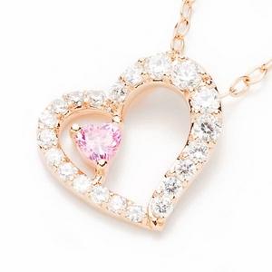 Beji(ベジ) heart to heart/ネックレス/Natural Pink Heart×Pink Heart【czダイヤ】