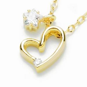 Beji(ベジ) heart with star/ネックレス/Light Yellow ×White Stone【czダイヤ】【網戸もえさん着用】