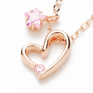 Beji(ベジ) heart with star/ネックレス/Natural Pink×Pink Stone【czダイヤ】