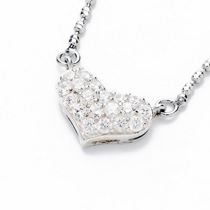 Beji(ベジ) heartパヴェ/ネックレス/Sparkle Silver×White Stone【czダイヤ】
