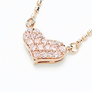 Beji(ベジ) heartパヴェ/ネックレス/Natural Pink×Pink Stone【czダイヤ】