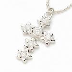 Beji(ベジ) star cross/ネックレス/Sparkle Silver×White Star【czダイヤ】【網戸もえさん着用】