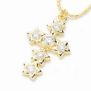 Beji(ベジ) star cross/ネックレス/Light Yellow×White Star【czダイヤ】【網戸もえさん着用】
