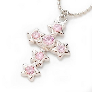 Beji(ベジ) star cross/ネックレス/Spakle Silver×Pink Star【czダイヤ】