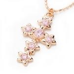 Beji(ベジ) star cross/ネックレス/Natural Pink×Pink Star【czダイヤ】【網戸もえさん着用】