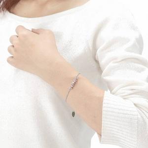 Beji(ベジ) ハート・ファイブストーン/ブレスレット/Sparkle Silver×Pink Stone【czダイヤ】