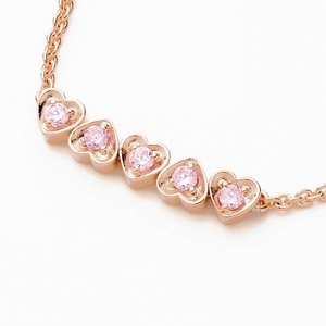 Beji(ベジ) ハート・ファイブストーン/ブレスレット/Natural Pink×Pink Stone【czダイヤ】【矢部美佳さん着用】