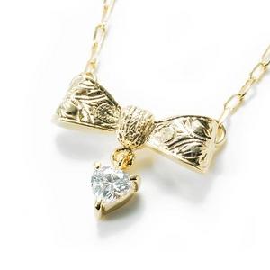 Beji(ベジ) ribbon type/ネックレス/Light Yellow×White Stone【czダイヤ】