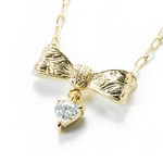 Beji(ベジ) ribbon type/ネックレス/Light Yellow×White Stone【czダイヤ】