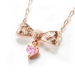 Beji(ベジ) ribbon type/ネックレス/Natural Pink×Pink Stone【czダイヤ】【網戸もえさん着用】