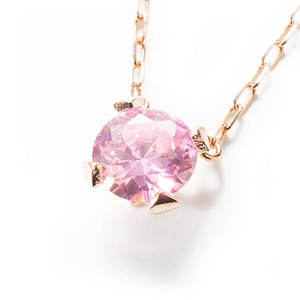 Beji(ベジ) big tears/ネックレス/Natural Pink×Pink Stone【czダイヤ】【網戸もえさん着用】