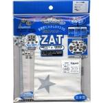 ZAT抗菌デザインマスク + 抗菌コットン×6個セット 【大人用】スター シルバー/白