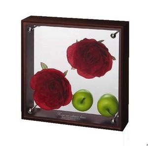 《フラワーフレーム》フラワーアート コレクションボックス Mサイズ・レッドローズ&アップル