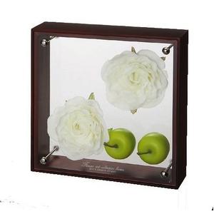 《フラワーフレーム》フラワーアート コレクションボックス Mサイズ・ホワイトローズ&アップル
