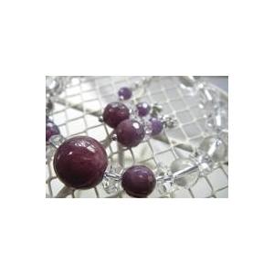 ルビー&水晶 ブレスレット・ピアスセットの宝石